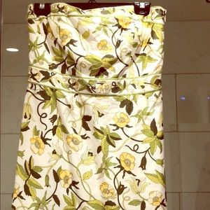 Strapless earthy toned floral Ann Taylor dress